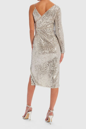 Yara Sequin One-Sleeved Midi Dress - Silver