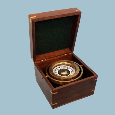 Stanley London Engravable Antique Nautical Brass Gimbaled Compass In Wooden Box