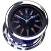 Weems & Plath Chrome Plated Atlantis Quartz Clock, Black Dial w/ Color Flags