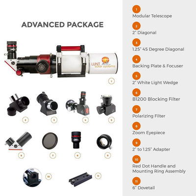 LUNT 80mm Modular Telescope Advanced Package LS80MT