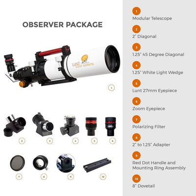 LUNT 100mm Modular Telescope Observer Package LS100MT