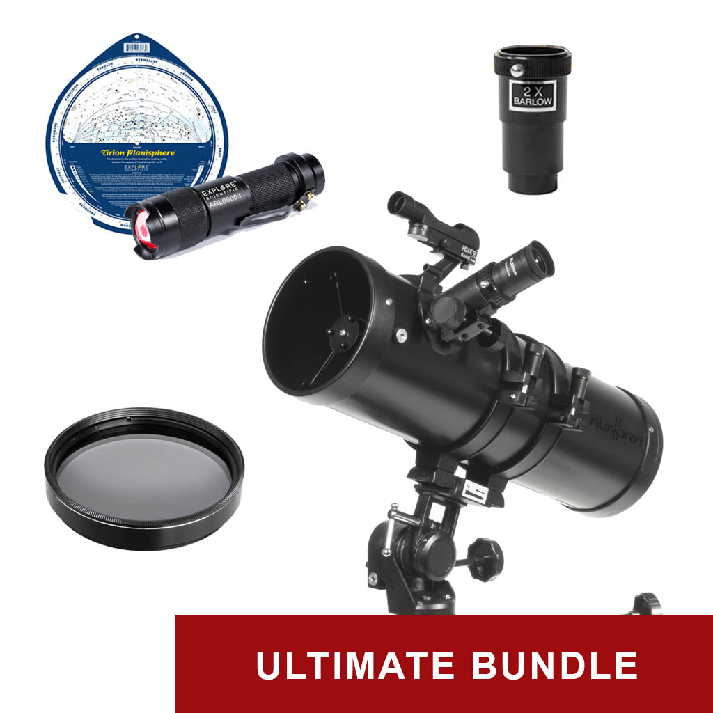 Explore One Aurora II Flat Black 114mm Slow Motion AZ Mount Telescope - Ultimate Bundle Package