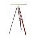 Stanley London 42mm Engravable Polished Brass Harbormaster Telescope w/ Hardwood Tripod