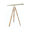 Stanley London 50mm Engravable Harbormaster Antique Brass Telescope w/ Teak Tripod