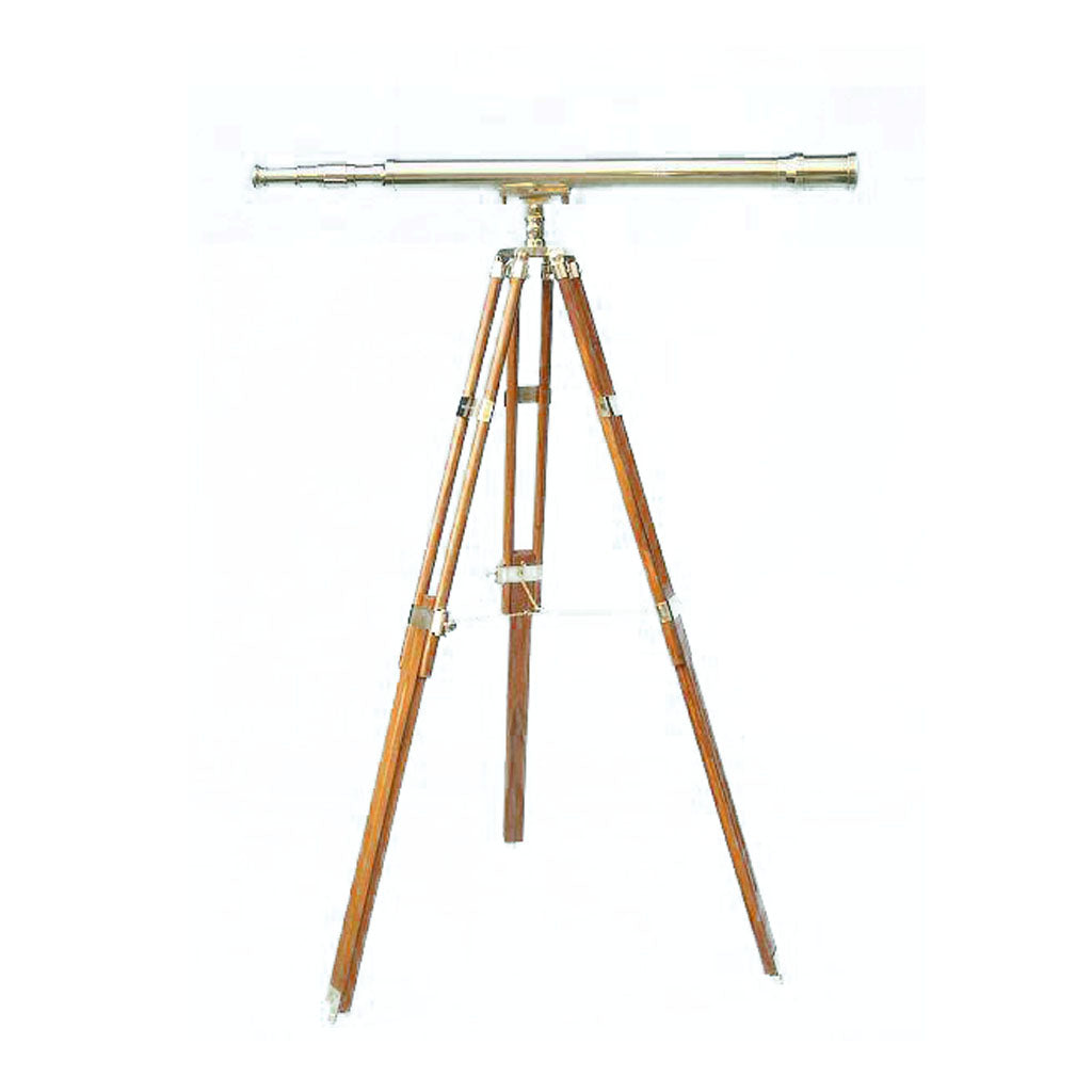 Stanley London 50mm Engravable Harbormaster Polished Brass Telescope w/ Teak Tripod
