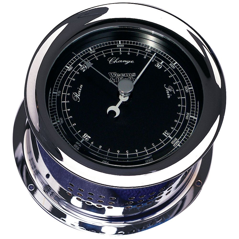 Weems & Plath Chrome Plated Atlantis Premiere Barometer - Black Dial / White Scale