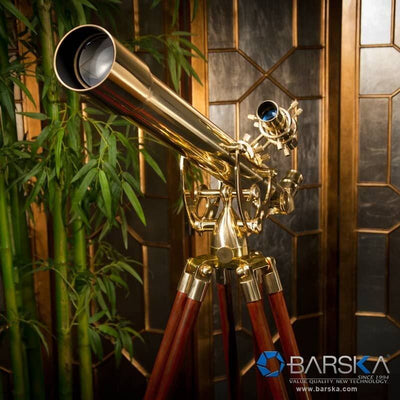 Barska 60mm 28 Power Anchormaster Classic Brass Telescope w/ Mahogany Tripod