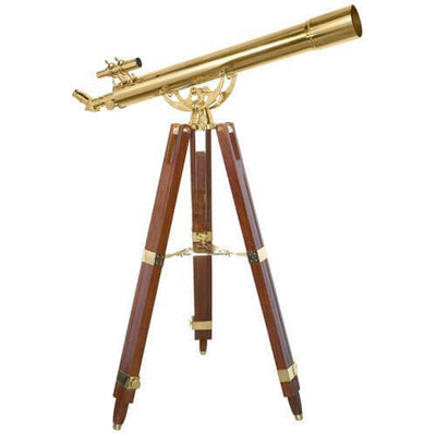 Barska 80mm 36 Power Anchormaster Classic Brass Telescope w/ Mahogany Tripod