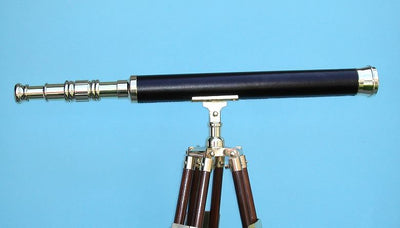 Stanley London 42mm Engravable Leather Sheathed Brass Harbormaster Telescope w/ Hardwood Tripod