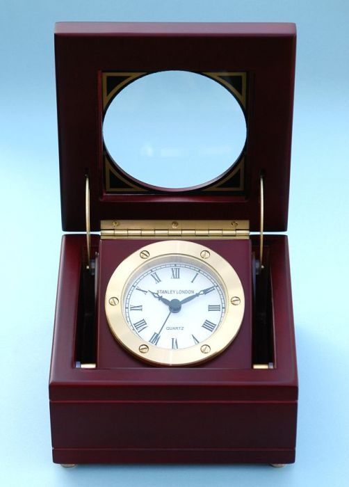 Stanley London Engravable Boxed Quartz Clock In Satin Finish Mahogany Case