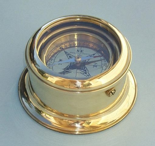 Stanley London Engravable Round Gimbaled Brass Desk Compass