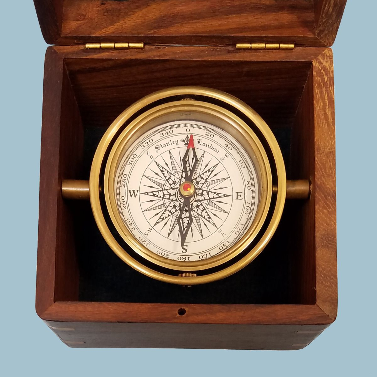 Stanley London Engravable Small Boxed Compass With Inlaid Compass Rose