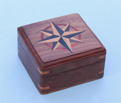 Stanley London Engravable Large Hardwood Case With Hand Inlaid Compass Rose