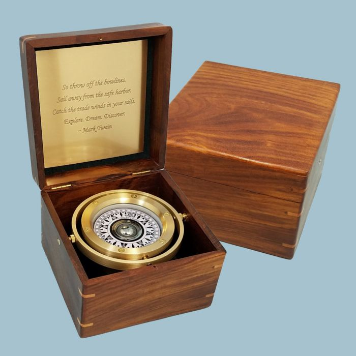 Stanley London Engravable Executive Nautical Brass Desk Compass In Wooden Box