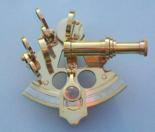 Stanley London Premium 3-inch Polished Brass Sextant With Leather Case