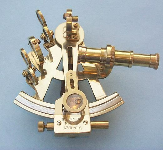 Stanley London Polished 4-INCH Brass Sextant With Leather Case