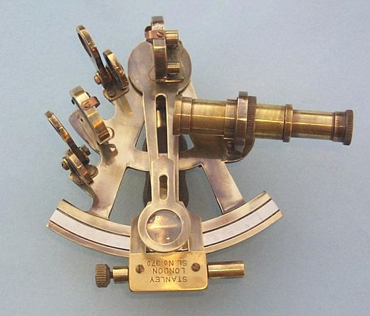 Stanley London Antique Patina 4-INCH Brass Sextant With Leather Case