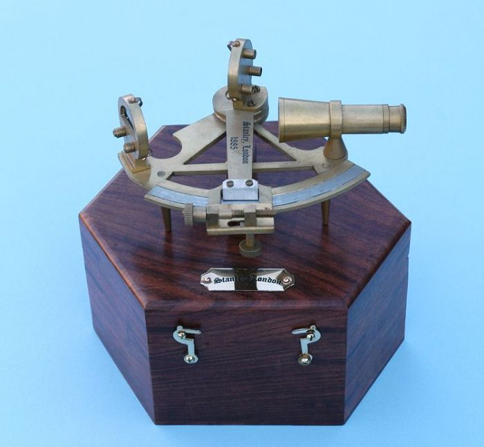 Stanley London Engravable Brass Sounding  Sextant With Hardwood Case