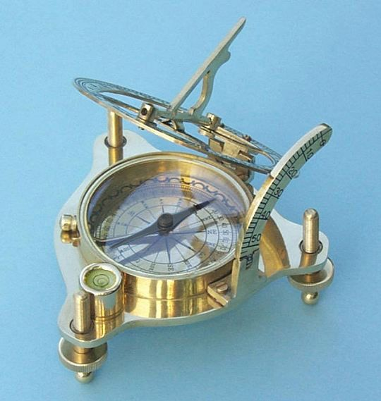 Stanley London Engravable Premium Polished Brass Sundial Compass With Case