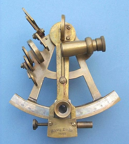 Stanley London Four-Inch Brass Sextant With Antique Finish