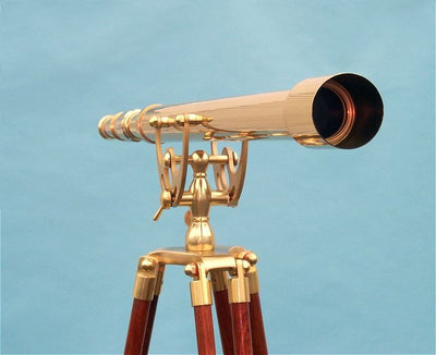 Stanley London 50mm Engravable Premium Brass Harbormaster Telescope w/ Arc Mount Mahogany Tripod