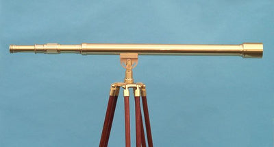 Stanley London 50mm Engravable Premium Brass Harbormaster Telescope w/ Mahogany Tripod
