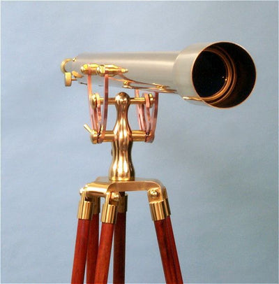 Stanley London 60mm Engravable Brass Harbormaster Telescope w/ Mahogany Tripod