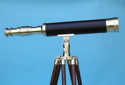 Stanley London 38mm Engravable Leather Sheathed Brass Harbormaster Telescope w/ Hardwood Tripod