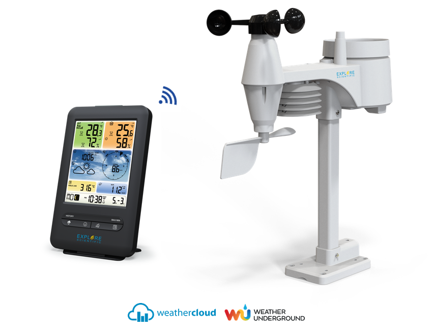 Explore Scientific 5-in-1 WiFi Professional Weather Station with Weather Underground