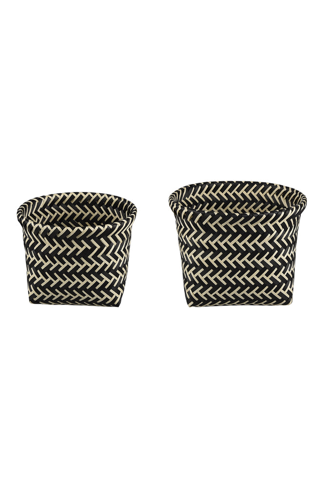 Herringbone Basket Black and White