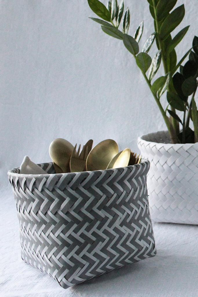 Herringbone Basket White and Grey
