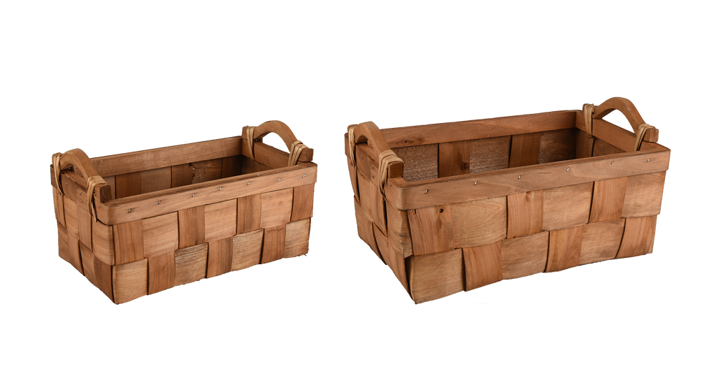 Wide Woven Rectangle Wooden Basket