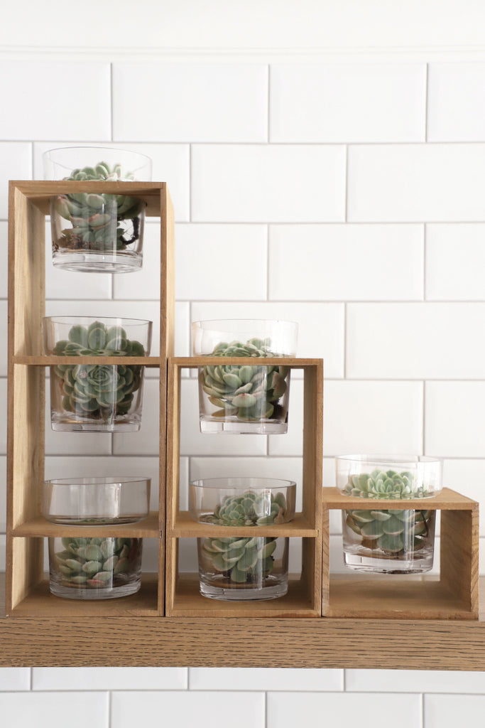Glass Stacked Planters In Wood Frame