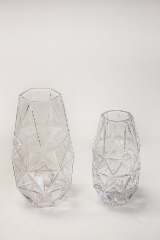 Glass Cut Geometric Vase