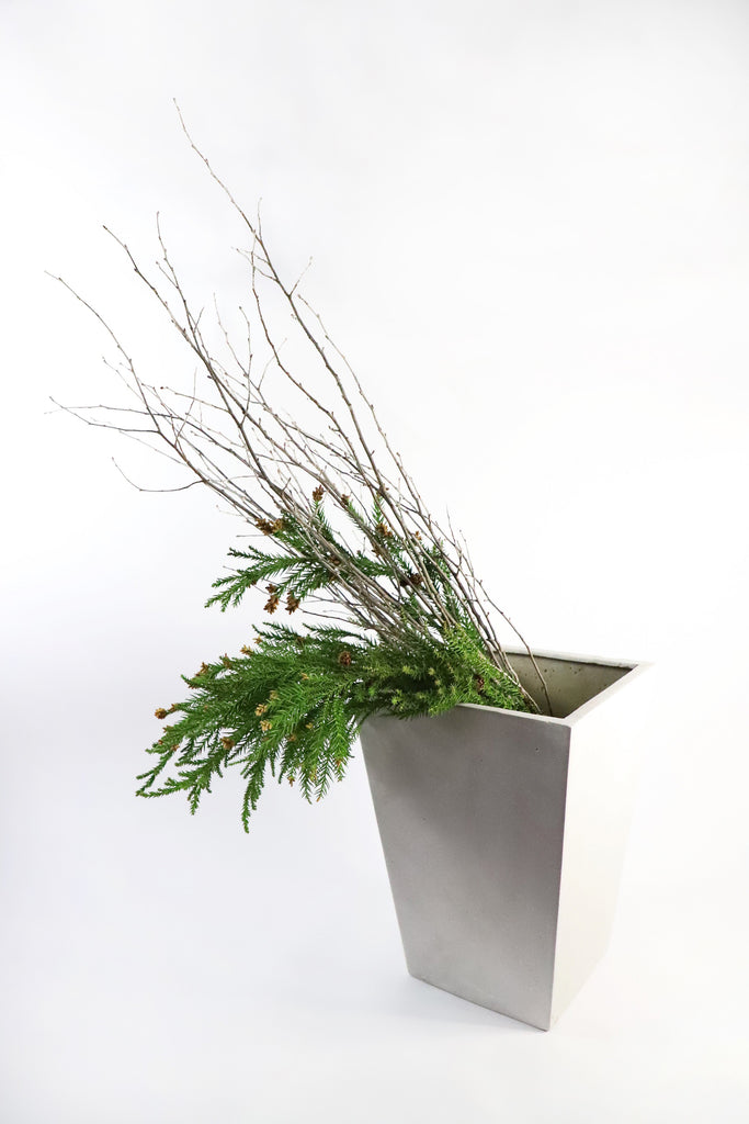Concrete Look Tall Taper Planter