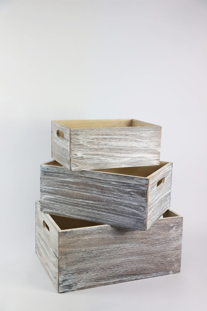 Whitewash Solid Wooden Crate