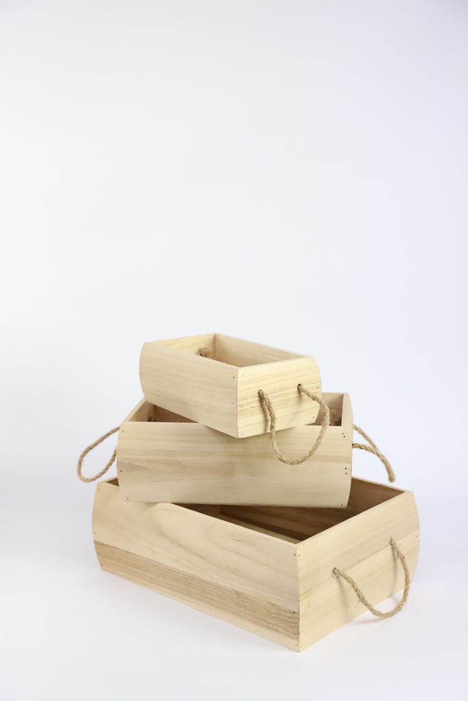 Wooden Box with Rope Handles