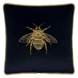 Embroidered Velvet Bee Cushion