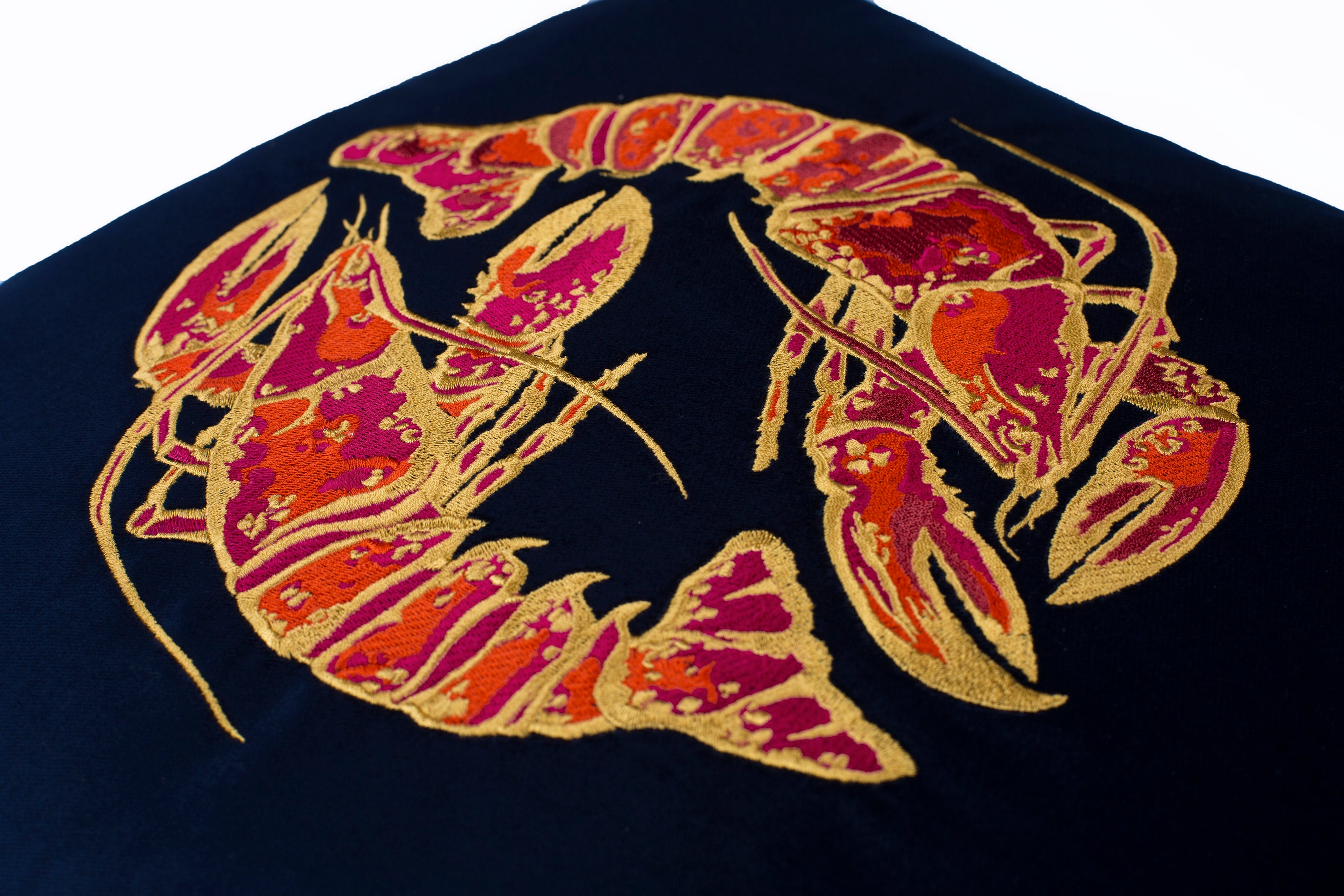 Embroidered Lobster Velvet Cushion