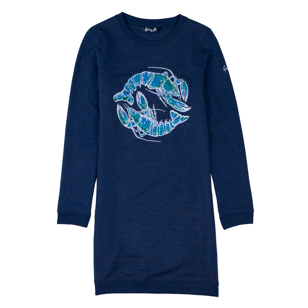 Blue Lobster Embroidered Sweatshirt Dress