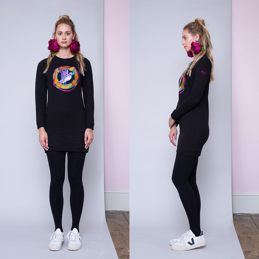 Puffin Lifesaver Embroidered Sweatshirt Dress