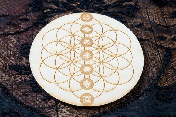 Flower of Life Chakra Crystal Grid Board | Birch Wood
