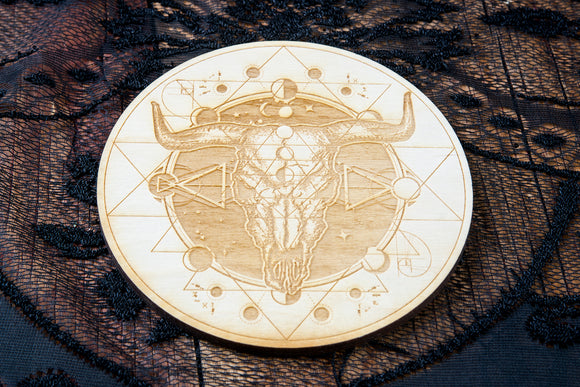 Bull Skull Crystal Grid Board | Birch Wood