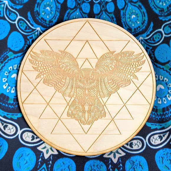 Owl Crystal Grid Board | Birch Wood