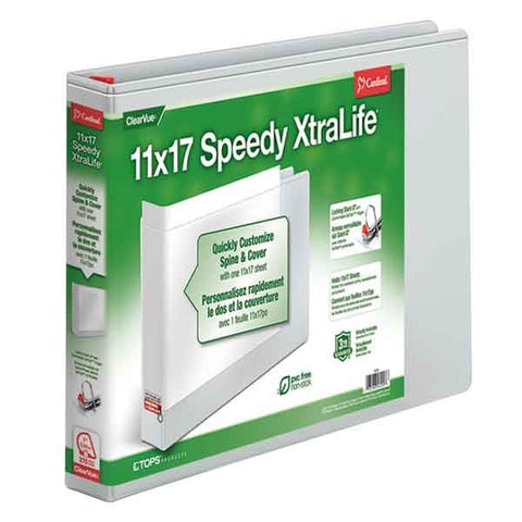 11 x 17, Speedy XtraLife Non-Stick Locking Slant-D Ring Binder, White - Justbinding.com