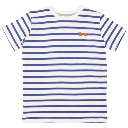 STRIPES/GLASSES embroidery Short Sleeved T-shirt