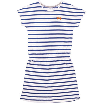 STRIPES-Glasses Embroidery POP Dress Short Sleeved