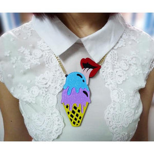 Acrylic Pendant Necklace Ice Cream Cone and Lips - olivias-room-boutique