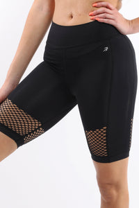 Seamless Activewear Compression Shorts - Black Mesh Contrast - Monsoon Ridge