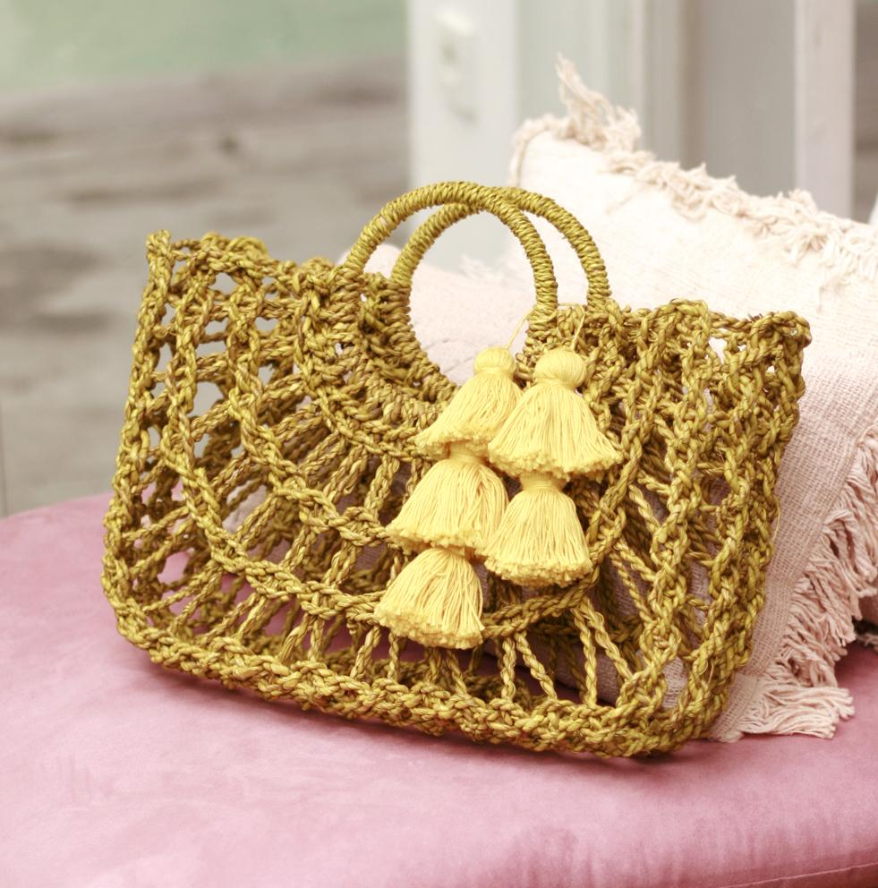 Dayu Straw Bag with Tassels, in Yellow